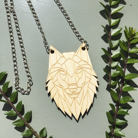 Geometric Wolf Head Pendant Necklace