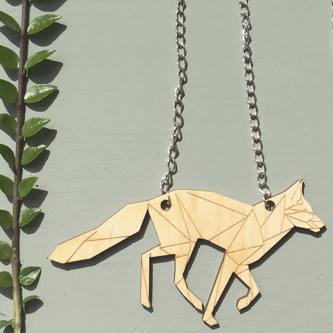 Laser cut Irish design Geometric fox Necklace by Stencilize