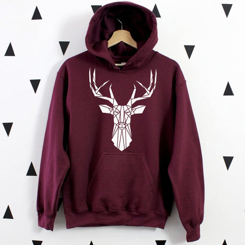 Graphic Hoodie With Stag Print, Geometric Deer Head sweatshirt - Stencilize