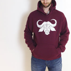 Graphic Buffalo Hoodie, Geometric Animal Print Sweatshirt - Stencilize
