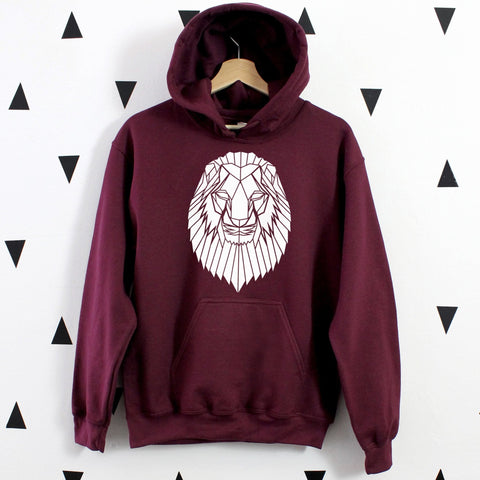 Cool Graphic Hoodie With Lion Print, Geometric animal sweatshirt