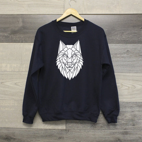 Geometric Wolf graphic animal print sweatshirt