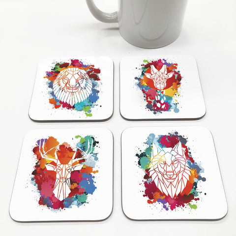 Geometric Paint Splash Animal Coasters - Stencilize