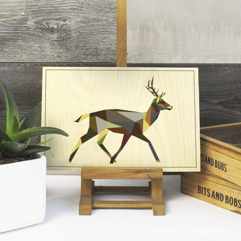 a Geometric Deer Print on Plywood, Cool Irish Animal Graphic, Origami inspired Animal Print - Stencilize