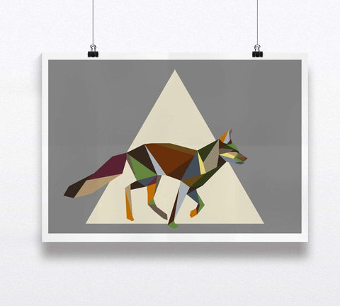 Running Fox Print Geometric Animal Illustration on Cool Grey Background - Stencilize