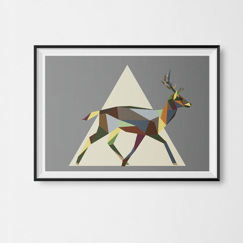 Running Stag Print Geometric Animal Illustration on Cool Grey Background