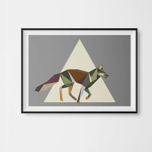 a Running Fox Print Geometric Animal Illustration on Cool Grey Background - Stencilize