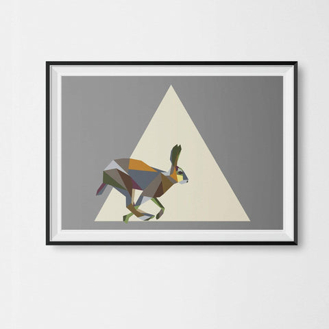 a Running Hare Print Geometric Animal Illustration on Cool Grey Background - Stencilize