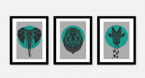 b. Set of 3 Mixed Geometric African Safari Animals on Cool Grey Background - Stencilize