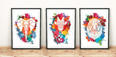 Set of 3 Mixed Geometric Animals on Cool Paint splat Background