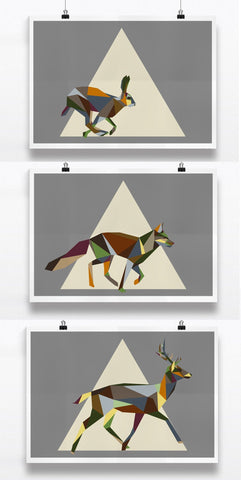 a Set of 3 Mixed Geometric Woodland Animal Prints, Earth tones, Irish Animal Prints. Fox, Deer and Hare Art Print - Stencilize
