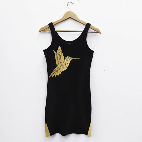 Vest Dress, Ladies Humming Bird Tank dress - Stencilize
