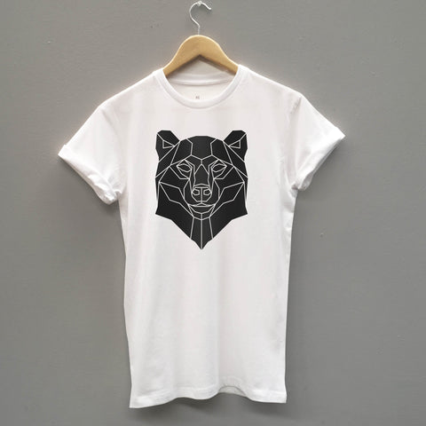 Bear T-Shirt Geometric Print Tee - Stencilize