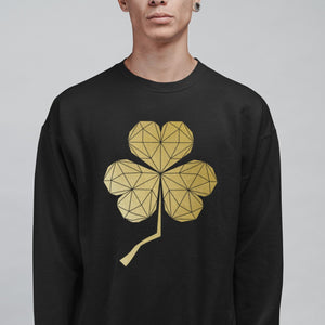 Contemporary Geometric Shamrock Sweatshirt, Black & Gold - Stencilize