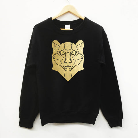 Bear Geometric Graphic Print Sweatshirt - Stencilize