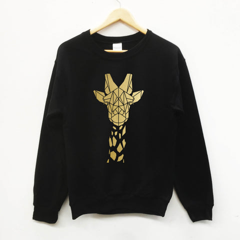 Unisex Giraffe Graphic Sweatshirt, Geometric animal Print - Stencilize