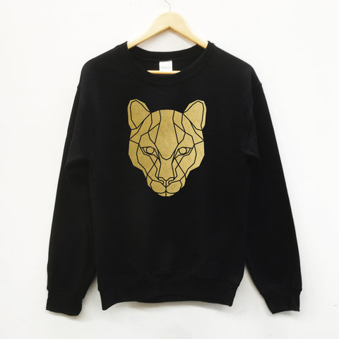 Puma cat Print Geometric Graphic Sweatshirt - Stencilize