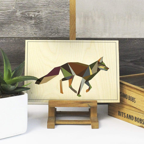 Geometric Fox Print on Plywood, Cool Irish Animal Graphic, Origami inspired Animal Print - Stencilize