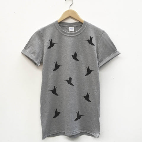 Mini Humming Bird Pattern Unisex T-shirt - Stencilize