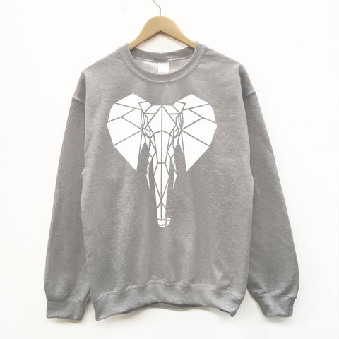 Unisex Geometric Elephant Graphic Print Sweatshirt - Stencilize
