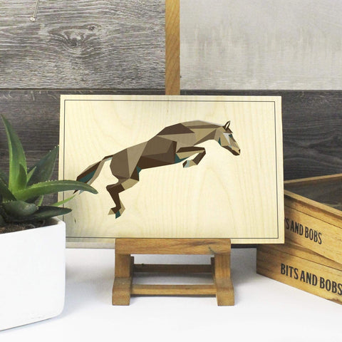 a Geometric Horse Print on Plywood, Cool Irish Animal Graphic - Stencilize