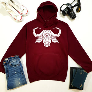 Graphic Buffalo Hoodie, Geometric Animal Print Sweatshirt