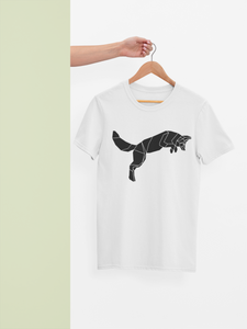 Geometric Jumping Fox Print T-Shirt - Stencilize