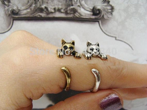 Adjustable Retro Cute Kitty Cat Wrap Ring - Stencilize