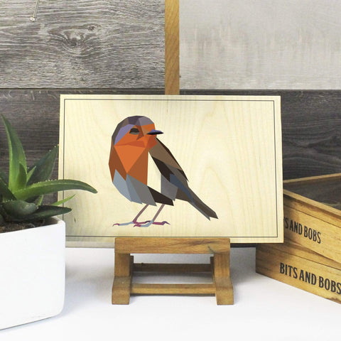 Robin Print on Plywood, Geometric Animal Graphic,  Origami inspired Bird Print - Stencilize
