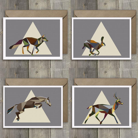 Greeting Cards Set of 4 Geometric Running Wildlife - Stencilize