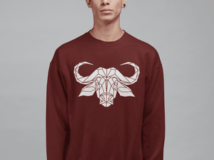 unisex Sweater with Geometric Water Buffalo Graphic Print - Stencilize