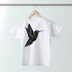 Geometric Humming Bird Kids T-shirt - Stencilize