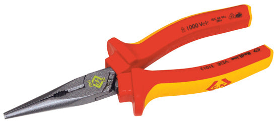 "431013 VDE Snipe Nose Pliers - Straight 175mm (61/2"")"