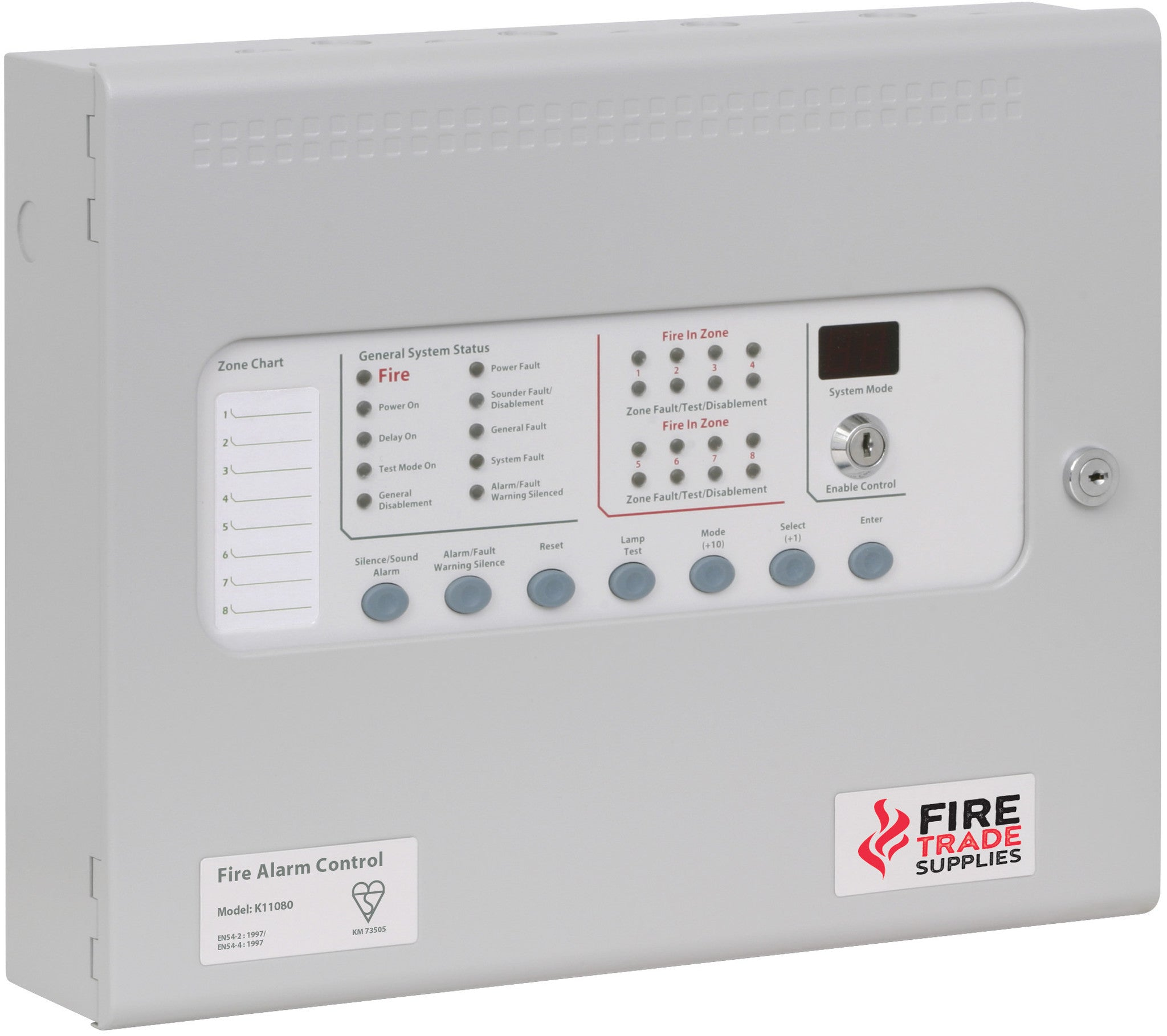 Kl11080m2 Kentec Sigma Cp Conventional Fire Alarm Panel 8 Zones 4 Surface Wiring System Wire Mounted With Lcmu