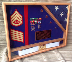 shadowbox with flag and belt