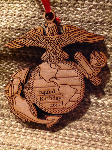 2018 Marine Corps Birthday EGA Christmas Ornament - 243nd USMC Birthday Ornament - Larry's Woodworkin'