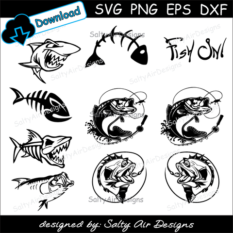 Fishing Digital Cut Files Bundle - Digital File - SVG - DXF - EPS - png - Vector - fishing Clipart