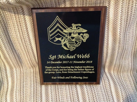 Custom Plaques - Military, Marine Corps, Navy, Air Force, Army, Coast Guard, Awards and Promotions - Larry's Woodworkin'