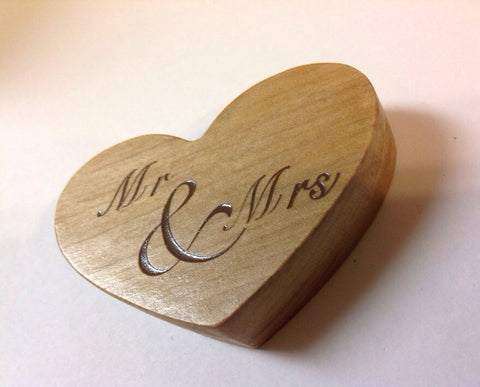Mr & Mrs Heart Cake Topper - Solid Wood - Larry's Woodworkin'