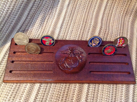 Marine Corps Eagle, Globe and Anchor (EGA) Challenge Coin Display - Dish Style