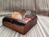 Rustic Business Card Holder and Military Challenge Coin Display - Larry's Woodworkin'