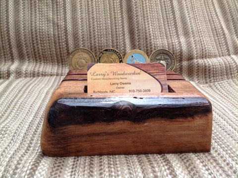 Rustic Business Card Holder and Military Challenge Coin Display
