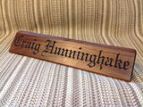 Angled Block Desk Wedge Nameplate - Personalized Desk Name Plate, Executive Desk Nameplates - Larry's Woodworkin'
