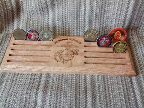 Semper Fidelis USMC EGA Coin Display - Larry's Woodworkin' - 1
