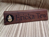 Personalized Angled Wedge Block Military Desk Nameplate with Rank Insignia Pad - 10 inch or 12 inch
