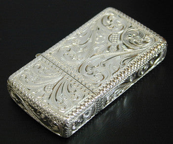 Zippo Lighter Silver King 5 sides hand carving 1500 SLV 1 Sterling silver Slim Type