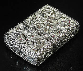 Zippo Lighter Silver King 5 sides hand carving 15 SLV ESPUMA E Sterling silver Regular Type