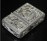 Zippo Lighter Silver King 5 sides hand carving 26 SLV 4-E Sterling silver Armor Type