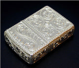 Zippo Lighter Silver King 5 sides hand carving 26 SLV 3-E Sterling silver Armor Type