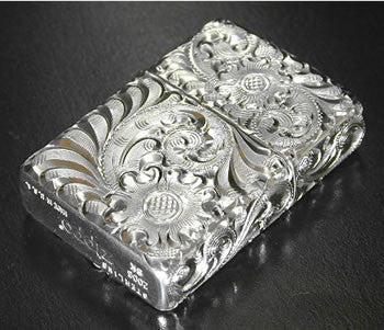 Zippo Lighter Silver King 5 sides hand carving 15 SLV 4 Sterling silver Regular Type